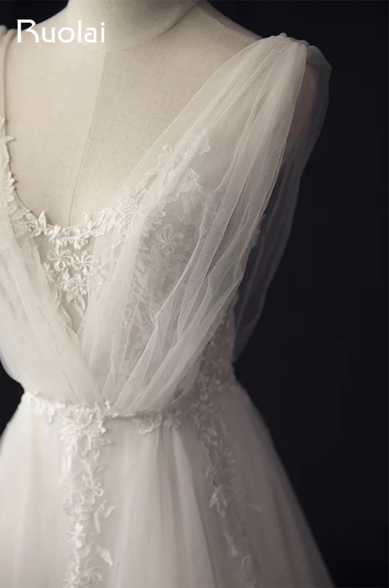 Real Photo Enkel A-Line Bröllopsklänningar Långt Blå - Bröllopsklänningar - Foto 5