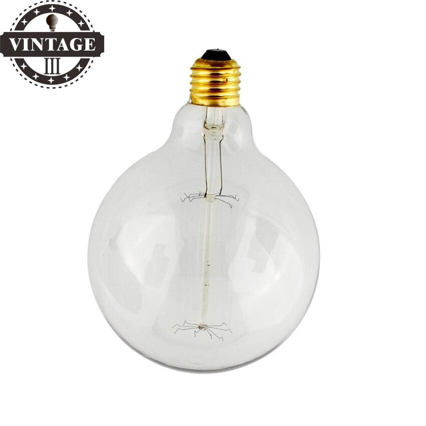 Lightinbox Vintage Vetro Tungsten Filament E27 Globe Edison Light Clear Bulb Lamp Incandescent Replacement 220V G125