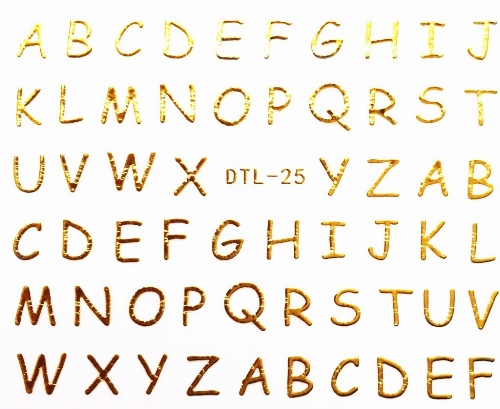 1510pcslot dtl 25 gold 3d letters designs nail art water transfer nails stickers decals stickers for nail decorations in stickers decals from beauty