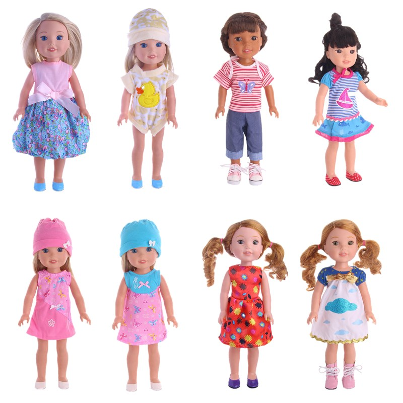 Luckdoll pajamats and suit ,dress for 14.5-Inch American Girl Dolls Wellie Wishers Accessories, Kids Like Doll Accessories 18 inch doll clothes and accessories 15 styles princess skirt dress swimsuit suit for american dolls girl best gift d3