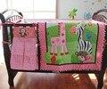 100% algodón de color rosa bordado de aves flores cebra jirafa bebé edredón bumper funda de colchón falda 7 unids cuna lecho