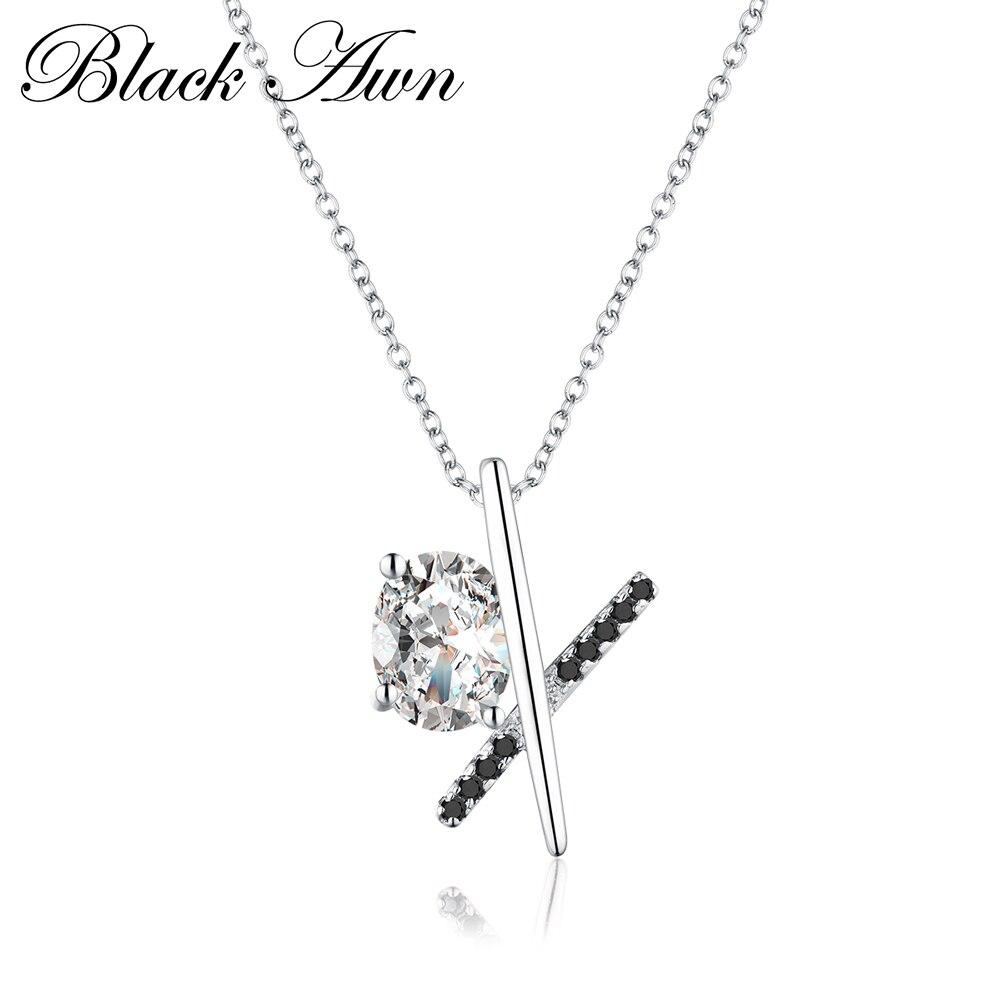 Romantic 925 Sterling Silver Fine Jewelry Necklaces Pendants Women Trendy Black&White Stone