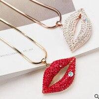 Sprzedaż nowy 2017 koreański luksusowych kryształów biżuteria red Sexy lips naszyjnik kobiet sweter akcesoria Hurtownie/górnik femme