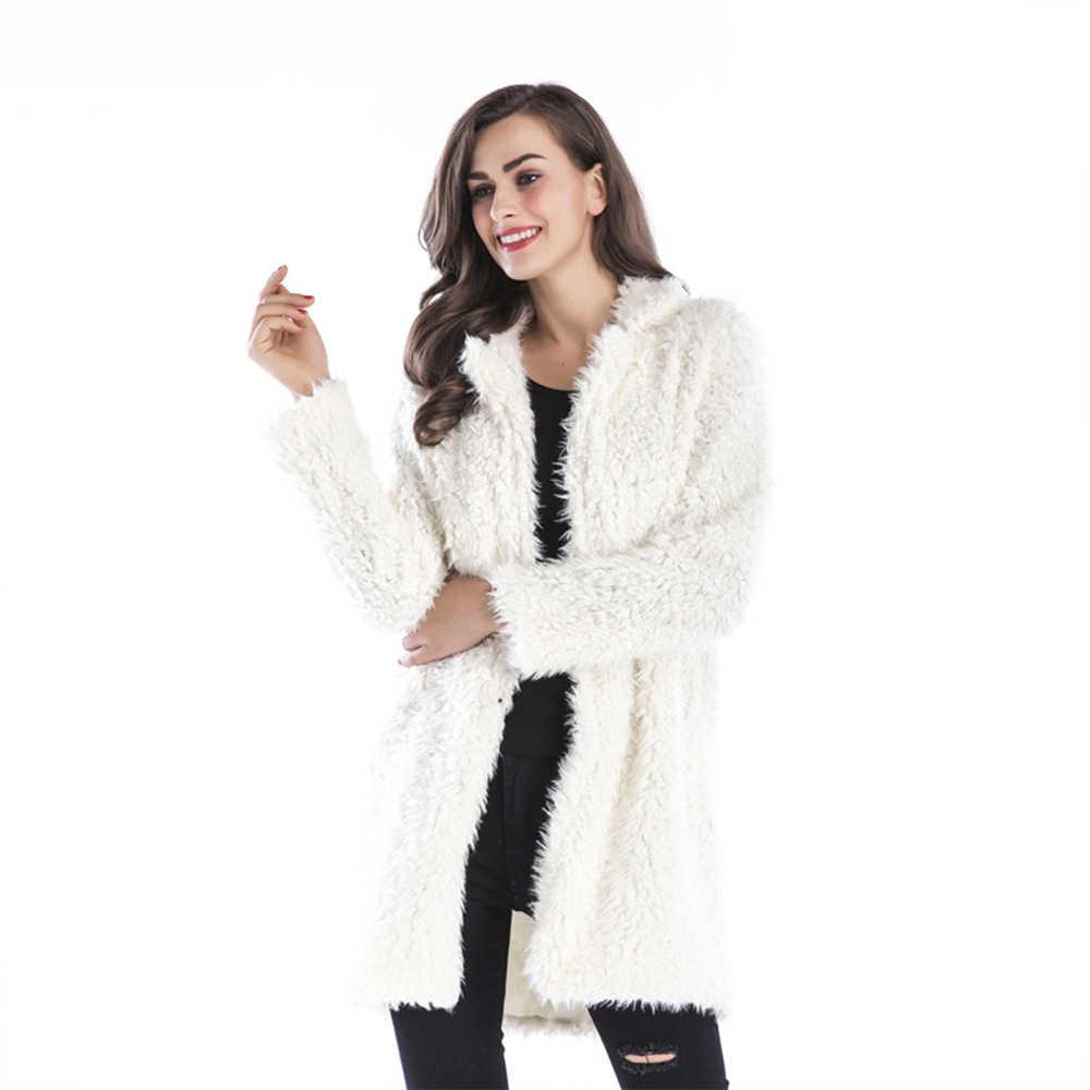 Длинная искусственная меховая шуба пальто с мехом Harajuku корейский Черный Розовый Модный уличная Кардиган Верхняя одежда плюшевое пальто пушистая лохматая куртка