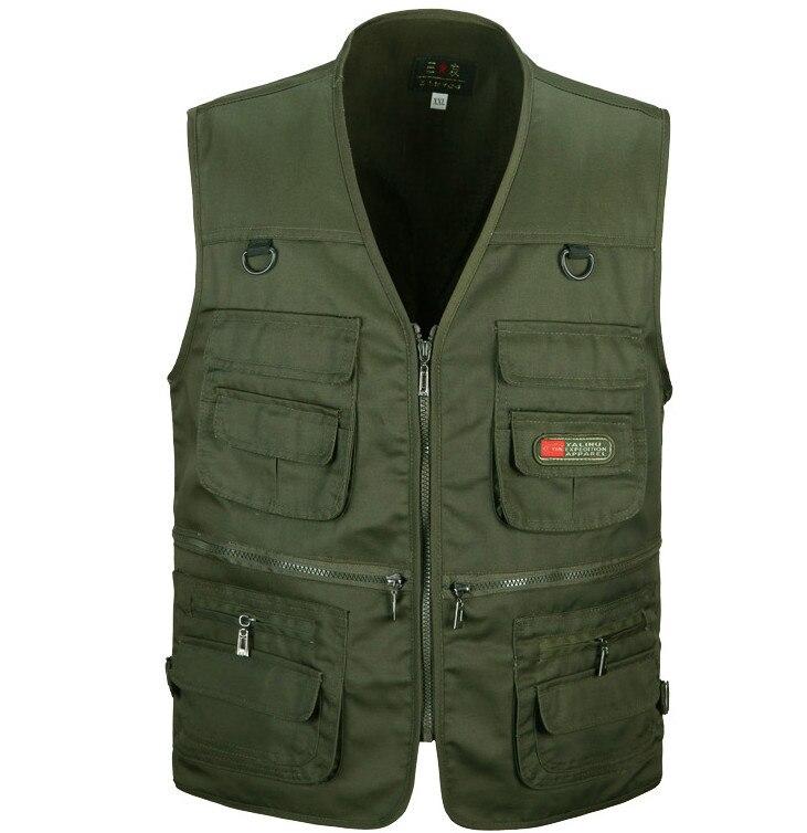 a1d52e5e18ed0 Printemps et automne mâle gilet occasionnel multi-poches quinquagénaire  100% coton maille gilet gilet gilet vêtements de travail