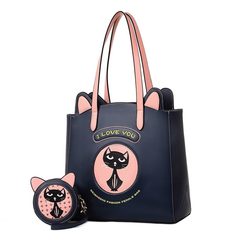 Mignon chat fourre-tout sacs pour filles décontracté fourre-tout PU animaux imprime célèbre Designer sacs à main dames sacs à main
