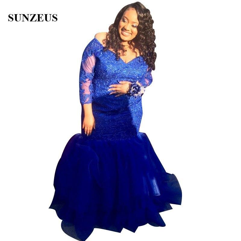 Grandes femmes grande taille robes de bal 2019 sirène col en v hors épaule Appliques robe de soirée bleu Royal Long vêtements de cérémonie femmes africaines