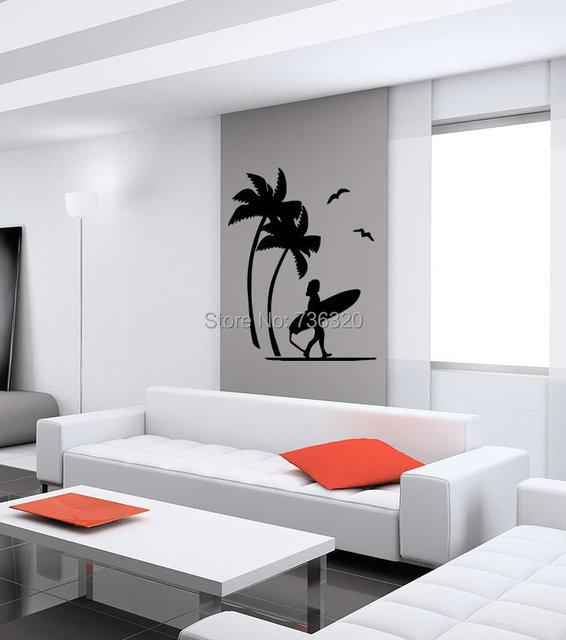 Coconut Tree Vinyl Wall Decal BEACH PALMS AND GIRL SURFING Wall Art Sticker  Bedroom Living Room Part 44