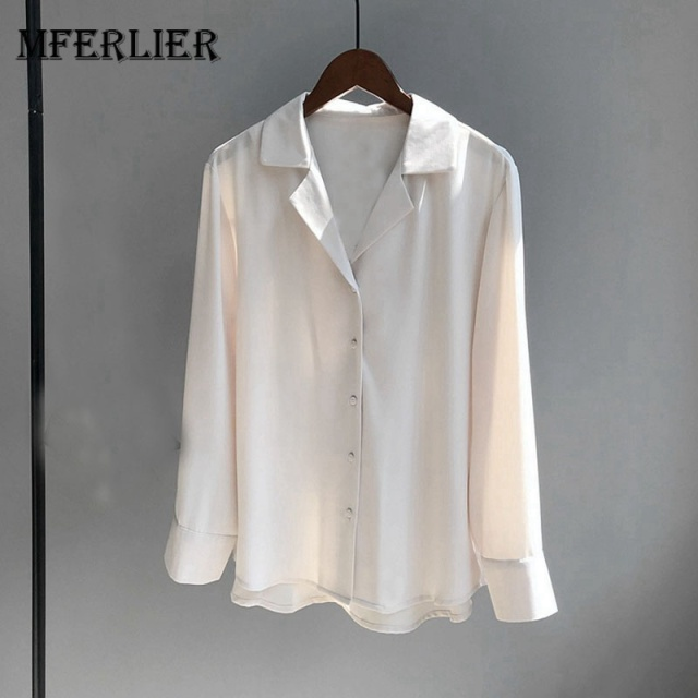 1954d7526fe Mferlier Summer Smart Casual Womens Blouses Notched Collar Long Sleeve  Solid Ladies Commute Chiffon Blouse
