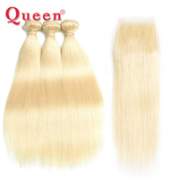 Queen Hair Products Brazilian Hair Weave Straight Hair Bundles With Closure Blonde Color Remy Human Hair Bundles With Closure