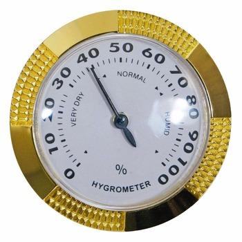 Nowy 1 sztuk jakości analogowy higrometr 58mm okrągły szklany analogowy higrometr do cygaro Humidors złoty Metal H600 tanie i dobre opinie Sanda