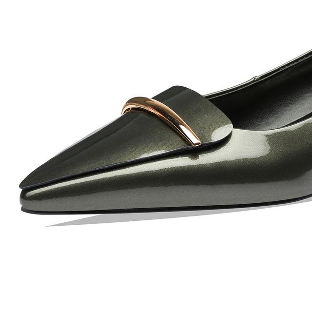 LEEPO Women Summer Shoes Low Heels Handmade Fashion Thick Heels Ladies Green Office Designers Wedding Pumps Woman Dress Shoes 4