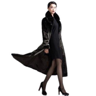 Manteau X Faux Rétro Vison Manteaux Luxe longue D'hiver Fourrure Porter M525 Femmes De Bureau 2018 Femme q8nnfYRx