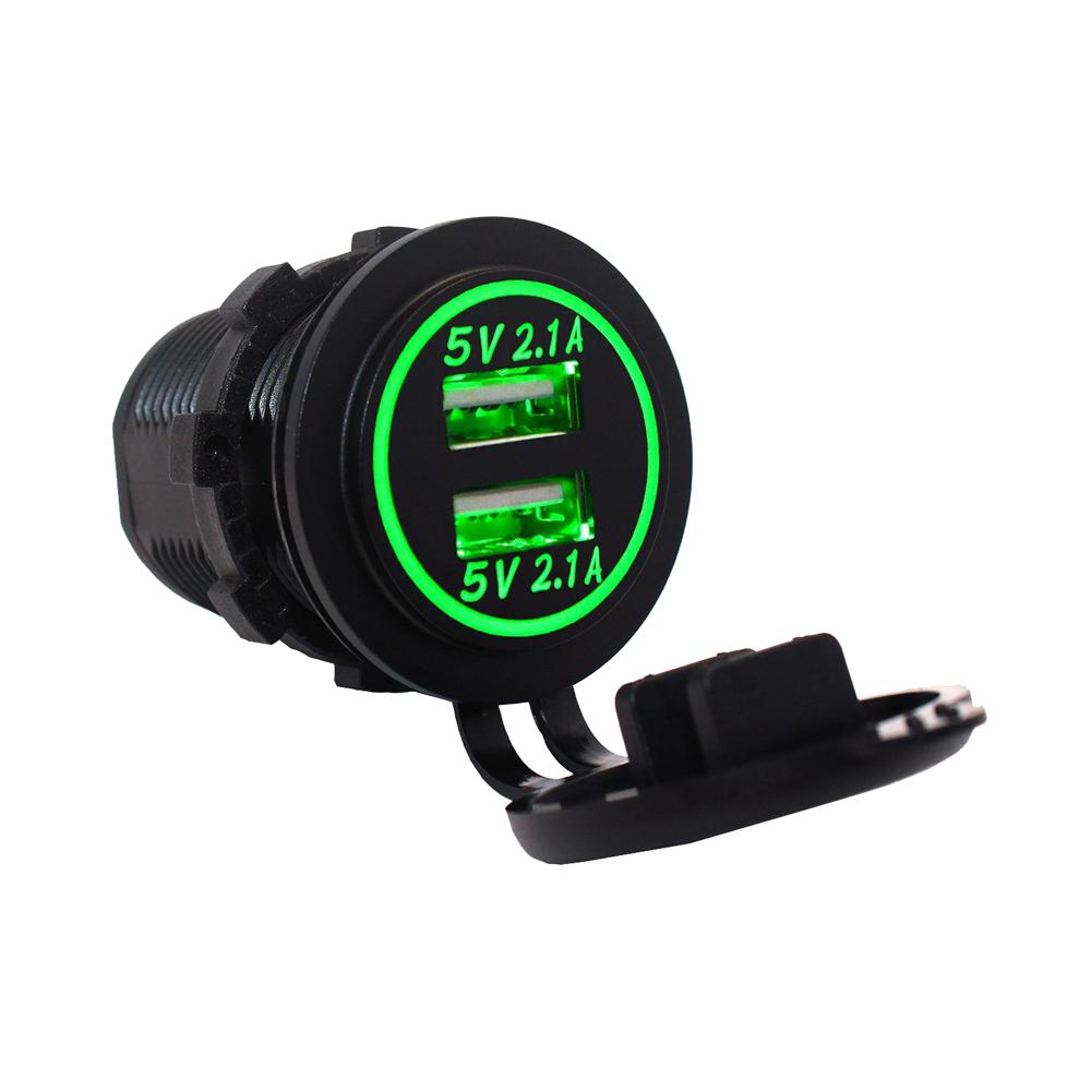DC 12~24V 4.2A DIY Waterproof Dual USB Car Charger Adapter 2.1A + 2.1A Motorcycle charger with Blue Green Red white Orange