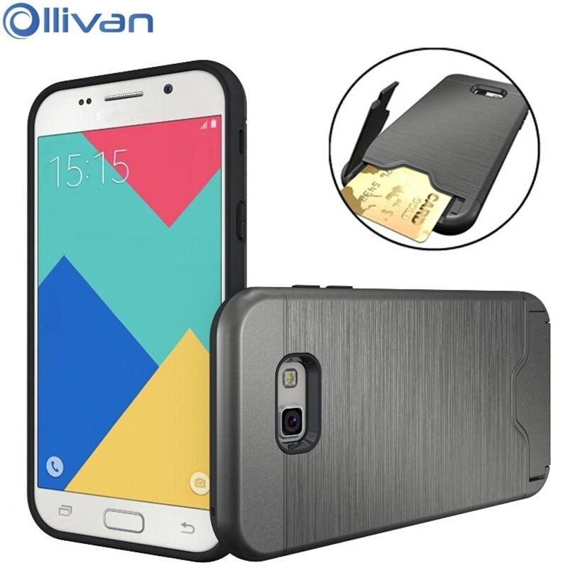 OLLIVAN Armor Silicon PC Case For <font><b>Samsung</b></font> Galaxy A3 <font><b>A5</b></font> A7 2017 Hidden Credit Card Pocket <font><b>Holder</b></font> 2 In 1 <font><b>Phone</b></font> Full Protection