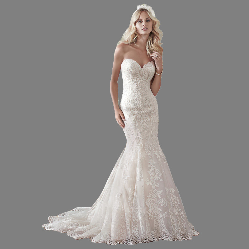2018 Hot Newly Design Elegant Lace Mermaid Wedding Dresses Church Court Train WIth Corset Vestido De Novia Vintage Bridal Gowns