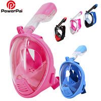PowerPai Professional Kids Snorkel Diving Mask Set Children Swimming Training Full Face Mask Scuba Equipment Mergulho