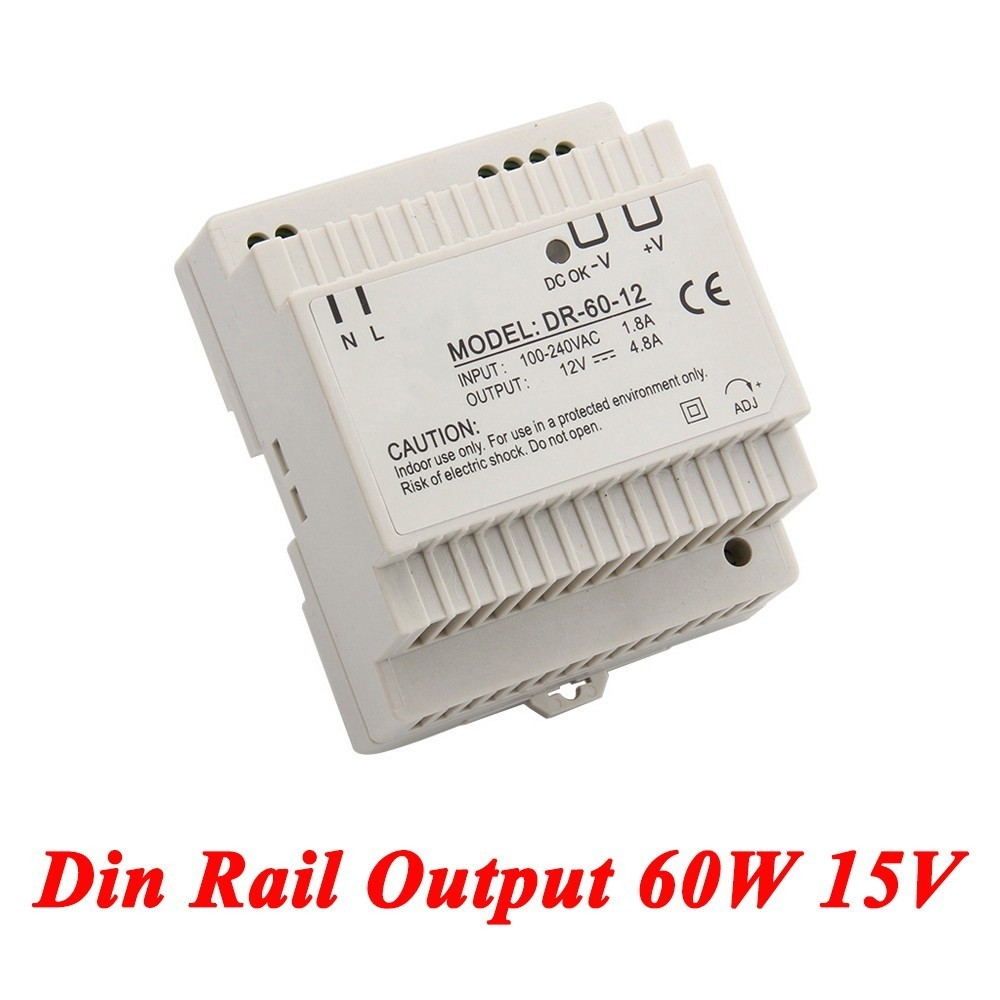 DR-60 Din Rail Power Supply 60W 15V 4A,Switching Power Supply AC 110v/220v Transformer To DC 15v,ac dc converter dr 240 din rail power supply 240w 24v 10a switching power supply ac 110v 220v transformer to dc 24v ac dc converter