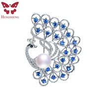 HENGSHENG Brand Silver Peacock Blue Zircon Brooch For Women Natural Pearl With AAA Zircon Fashion Jewelry