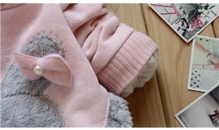 Girls Sweatshirts Hoodies Children Clothing Autumn And Winter Baby girl Thick Cotton Tops Kids Cute Cartoon Rabbit Hooded Coat 10