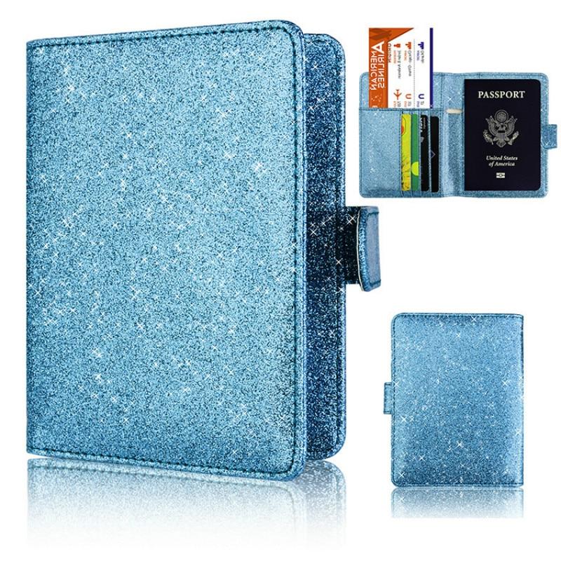 1Pc Bling Passport Case Holder PU Leather Blocking Travel ID Credit Card Wallet