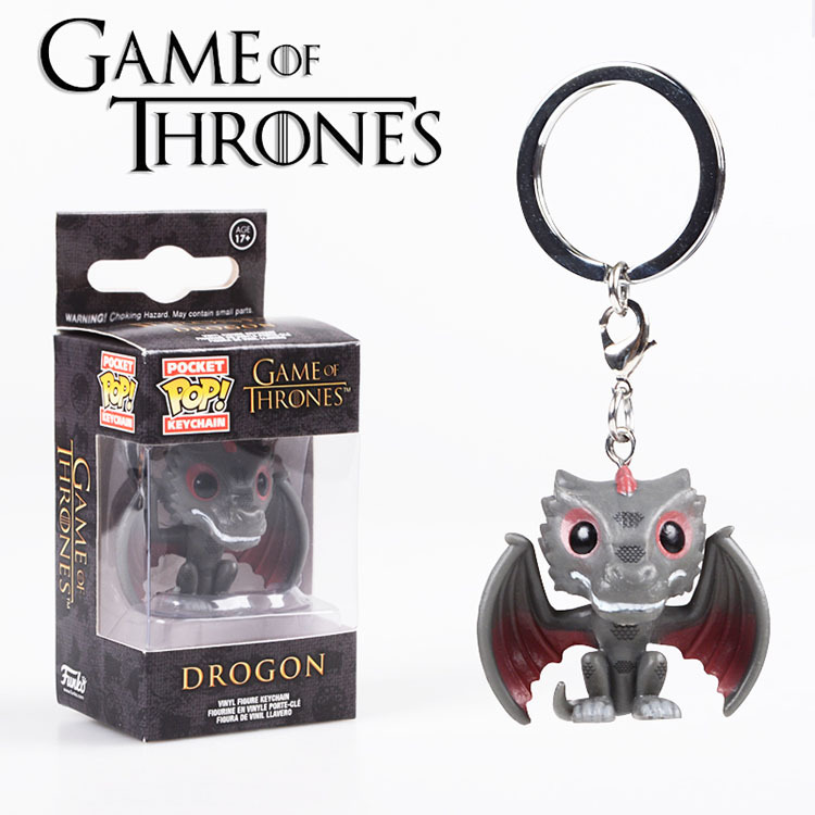 Funko popo Game of Thrones Drogon Figure Doll Key Chain New Novel Gift 2018 New Collectible Model Toy Car Key Ring Phone Rings