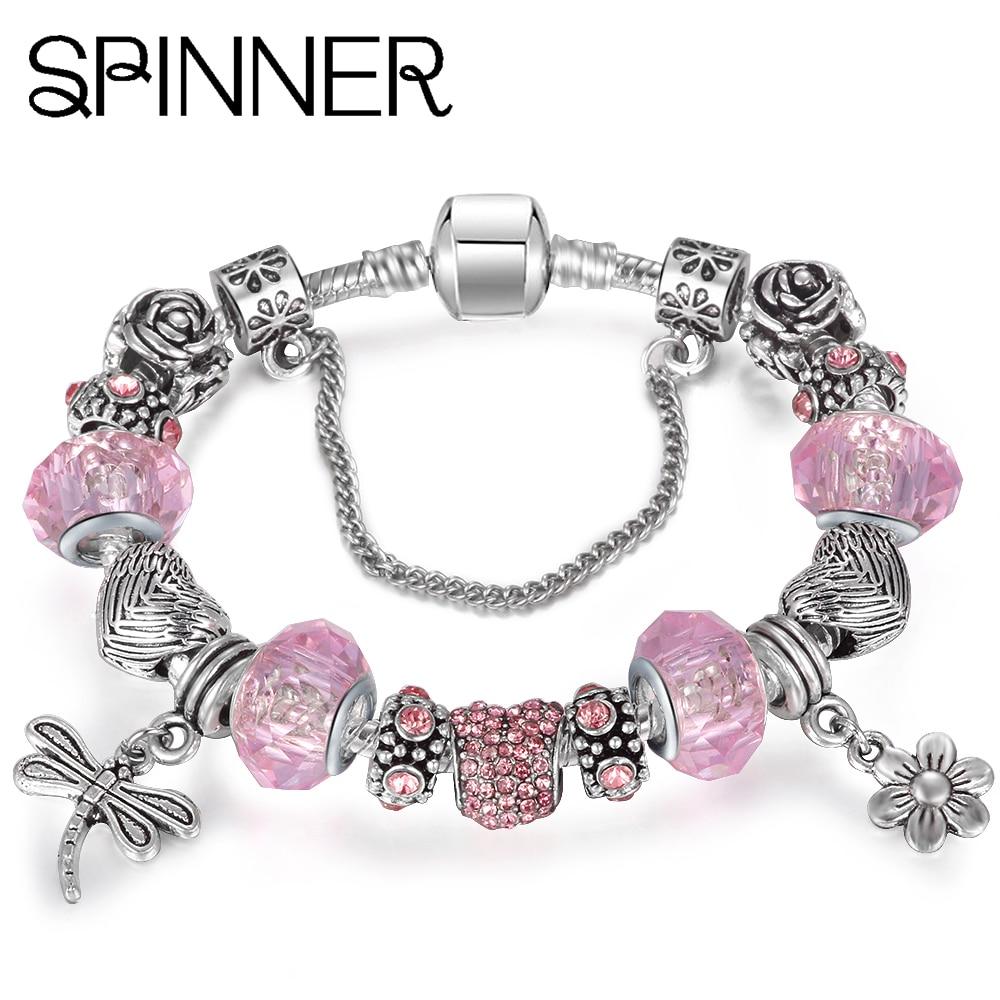 Spinner Summer Dragonfly Dangle Charm Heart Crystal Snake Chain Charm  Bracelets Women Pandora Bracelets Jewelry(