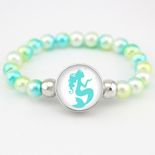 Mermaid Beads Bracelets Flamingos Unicorn Charms 18mm Snap Buttons Dome Cabochon Girls Women Fashion Jewelry Gift
