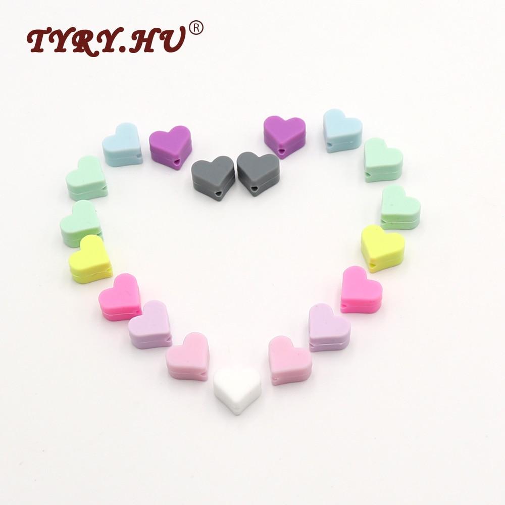 TYRY.HU 10Pcs/Lot Multicolor Heart Shaped Silicone Beads Food Grade Baby Mordedo