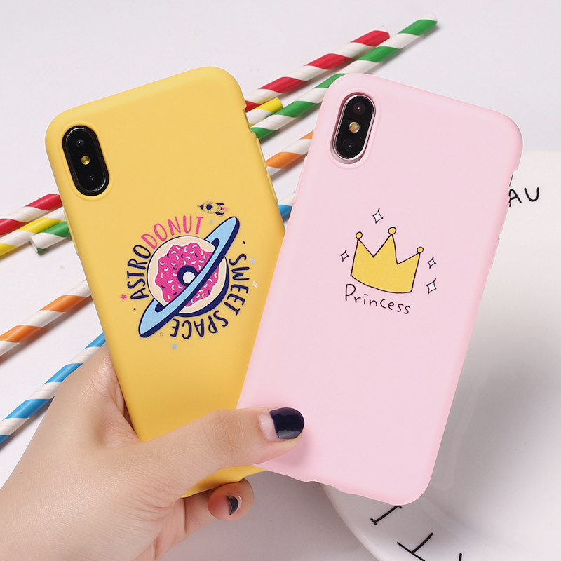 For iPhone 11 6S 5S SE 8 8Plus X 7 7Plus XS Max Princess Crown Donuts Space Pink Cactus Cat Cute Soft Silicone Candy Case Coque(China)
