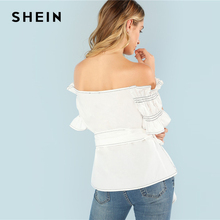 SHEIN Party Club Sexy Beige Striped Flounce Ruffle Sleeve V Neck Womens Tops and Blouses Plunging Bardot Neck Knot Wrap Top