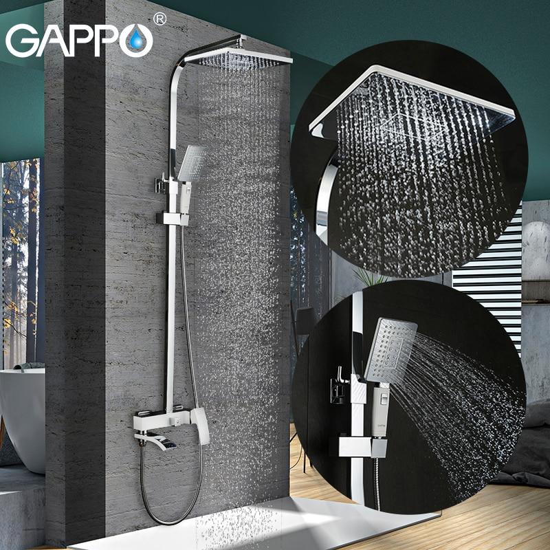 GAPPO banheiro chuveiro set torneira de bronze torneira da banheira torneira misturadora cachoeira cabeça de chuveiro de parede chuveiro chrome Shower tap GA2407-8