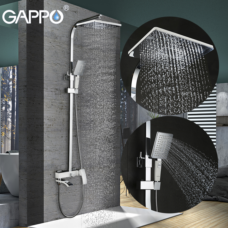GAPPO bathroom shower faucet set bronze bathtub faucet mixer tap waterfall wall shower head shower chrome Shower tap GA2407-8 fie new shower faucet set bathroom faucet chrome finish mixer tap handheld shower basin faucet