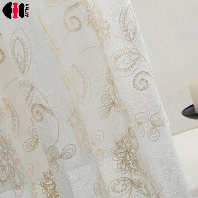 Tela para las cortinas de lino bordado beige cortinas en las ventanas decoraci n escarpada de - Cortinas lino beige ...