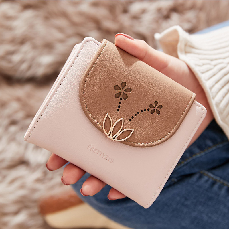 Fashion Women Wallets Female Hasp Small Wallet  Short Purse Holders Multifunction Coin Purse Printing Flower For Credit Cards