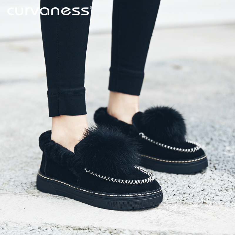 2018 Brand Fur Balls Flats   Leather     Suede   Ladies Shoes Plush Warm Ballets Pompom Rabbit Hair Loafers Fluffy Shoes Slides Mules