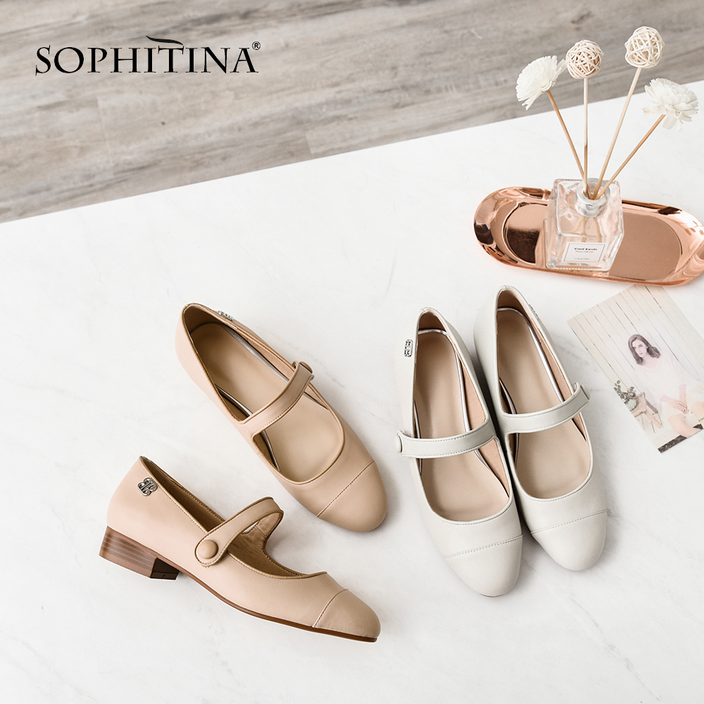 SOPHITINA New Women s Solid Flats Fashion Buckle Strap Genuine Leather Comfortable Round Toe Shoes Casual