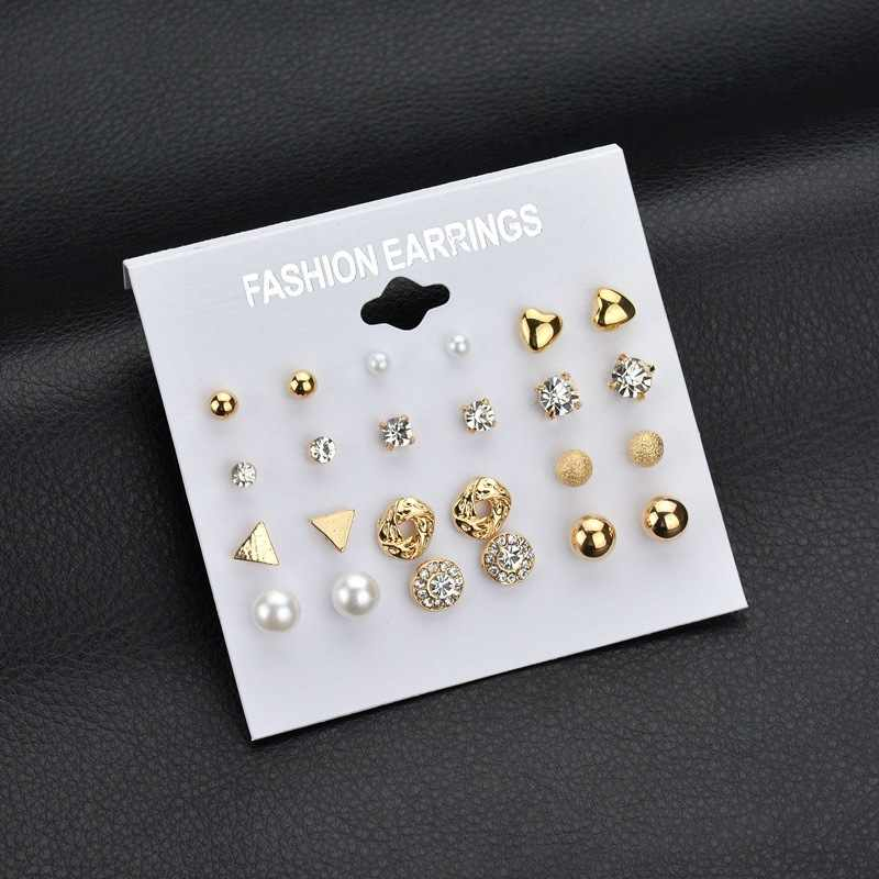lAnJuZi Fashion 12 pair/set Women Square Crystal Heart Stud Earrings for Women Piercing Simulated Pearl Flower Earrings