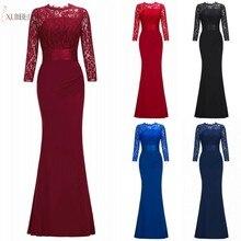 Бордовое темно-синее длинное платье русалки для подружки невесты с круглым вырезом и рукавом 3/4 свадебное платье vestido madrinha