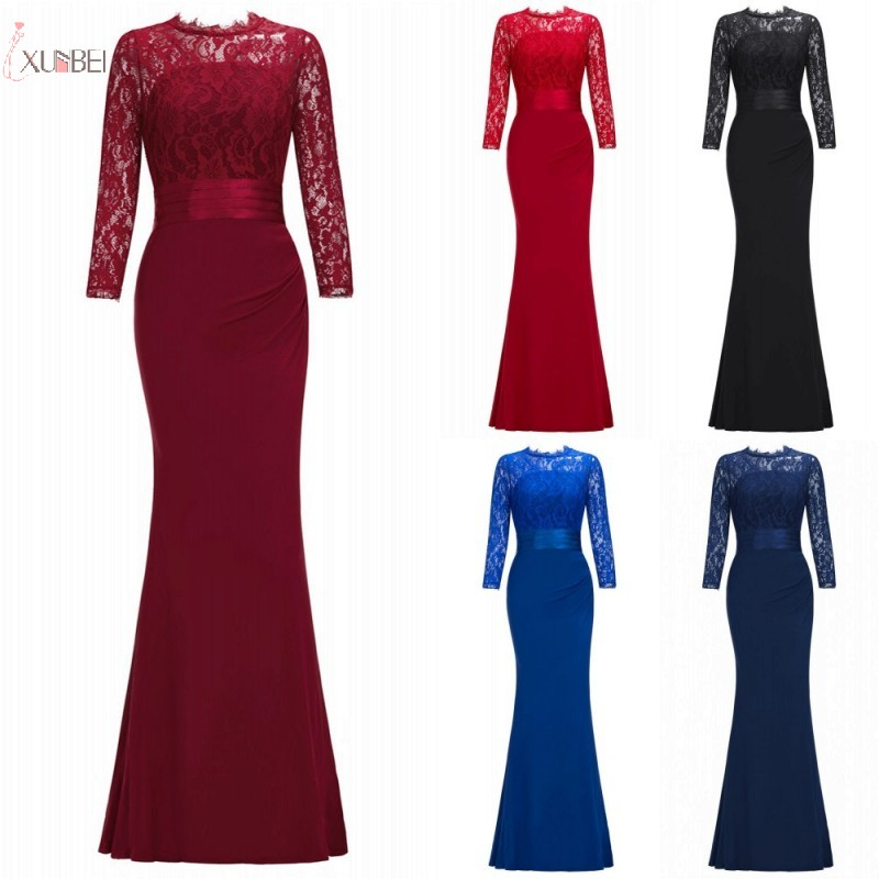 2019 Burgundy Navy Mermaid Long Bridesmaid Dresses Scoop Neck 3/4 Sleeve Wedding Party Gown Vestido Madrinha