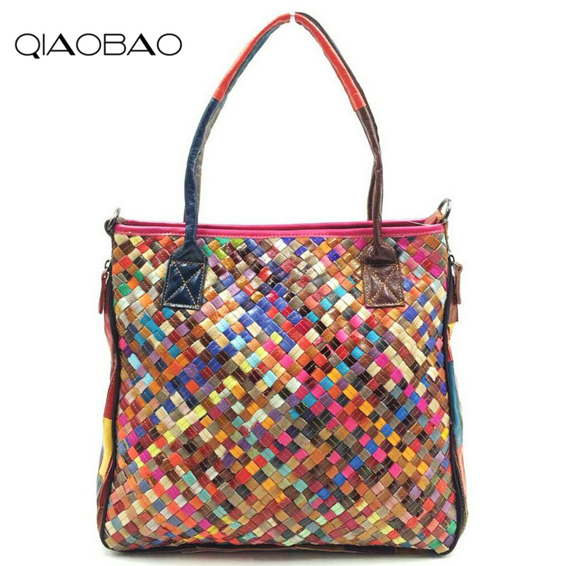 QIAOBAO 100% Sheepskin Bag Leather Handbags Knit Big Ladies Hand Bags Girls Soft Genuine Leather Shoulder Bag Lady Totes qiaobao 2017 new 100% cowhide leather handbags women patchwork ladies hand bags girls soft genuine leather shoulder bag ladybag