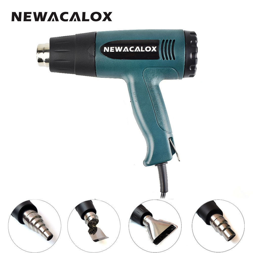 NEWACALOX 1800W 220V EU Plug Shrink Wrap Heat Gun Industrial Electric Hot Air Gun Thermoregulator Kit Professional Heatguns