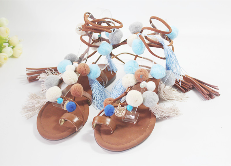 ФОТО 2016 Factory Real Photo summer celebrity tie-up flat pom poms cute sandals skyblue colorful clip toe comfortable dress sandal
