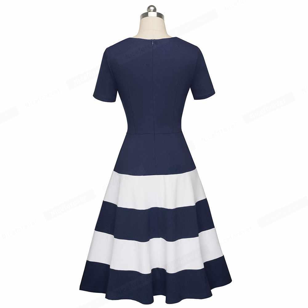 Nice-forever 1950 s Ретро-контрастный Цвет в стиле пэчворк с круглым вырезом; vestidos Бизнес вечерние расклешенное ТРАПЕЦИЕВИДНОЕ женское платье A142