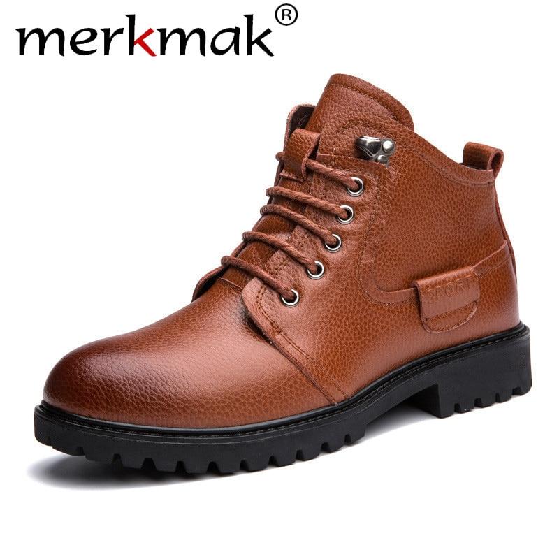 Merkmak Autumn Winter Men Boots 2018 Vintage Style Men Casual Shoes Fashion Lace-up Warm Hombre Shoes Big Size 46 Anklets Boots