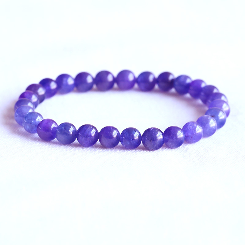 Obedient Aaa High Quality Natural Genuine Tanzania Clear Purple Blue Tanzanite Stretch Finish Bracelet Round Beads 6.5mm 05077 Bracelets & Bangles