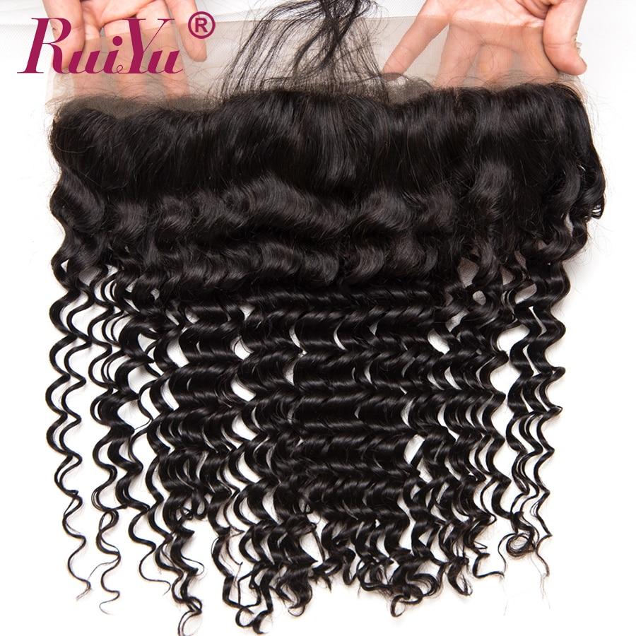 RUIYU Rambut Brazil dalam menenun Penutupan 13x4 Telinga Untuk - Rambut manusia (untuk hitam) - Foto 2