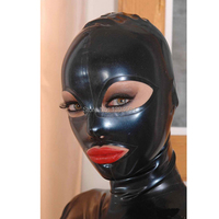 2018 new arrival Sexy design Black Women Full Face handmade Latex Hood Open Eye and mouth fetish customize size