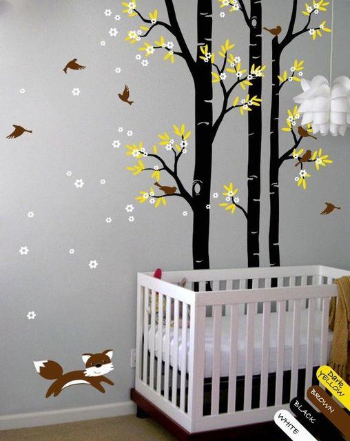 Arbre Sticker Renard Oiseaux Stickers Muraux Fleur Wall Sticker