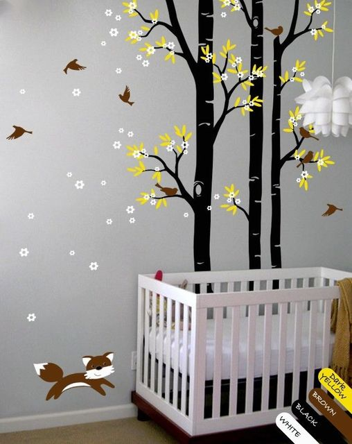 Buy tree wall decal fox birds wall decals - Dessin mural chambre fille ...